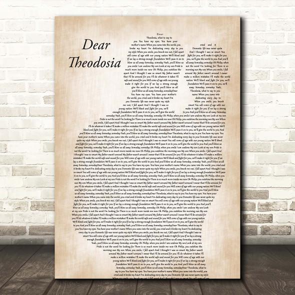 Lin-Manuel Miranda & Leslie Odom Jr. Dear Theodosia Father & Baby Song Lyric Print