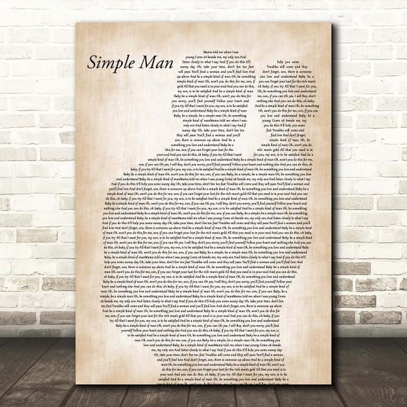 Lynyrd Skynyrd Simple Man Father & Baby Song Lyric Print