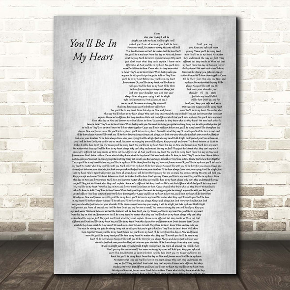 Phil Collins You'll Be In My Heart Father & Baby Grey Song Lyric Print