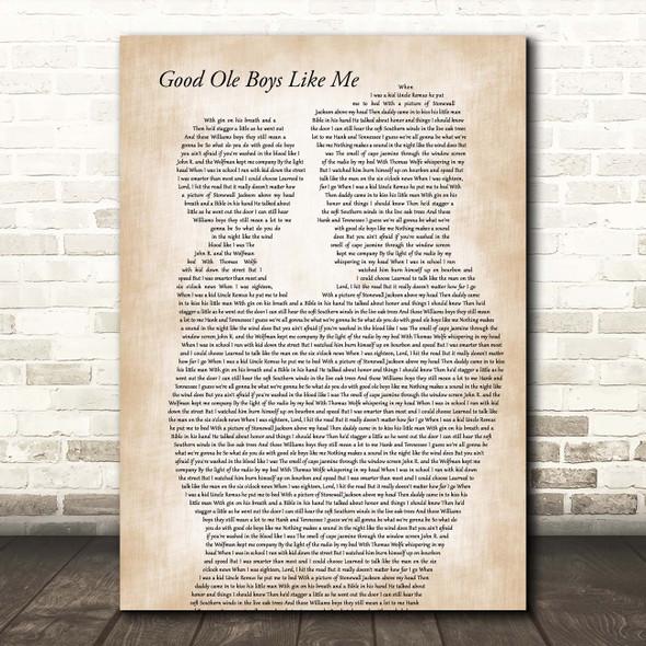 Don Williams Good Ole Boys Like Me Father & Child Song Lyric Print