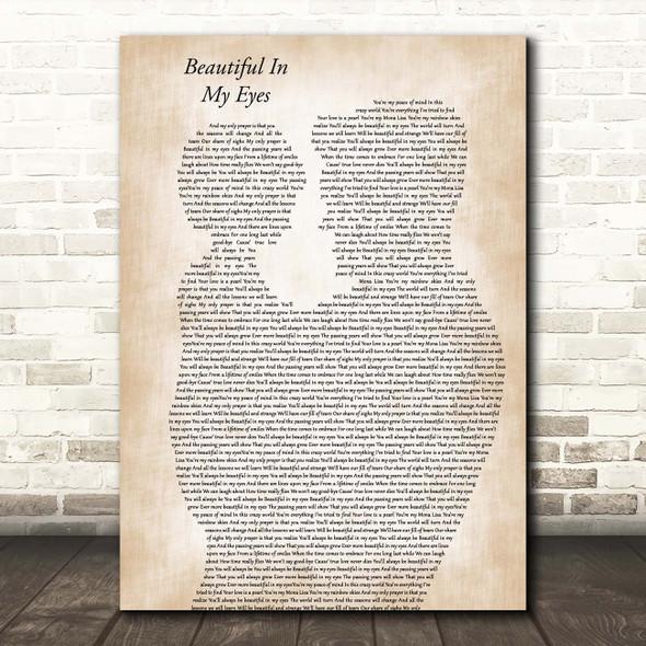 Joshua Kadison Beautiful In My Eyes Father & Child Song Lyric Print