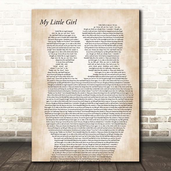 Tim McGraw My Little Girl Father & Child Song Lyric Print