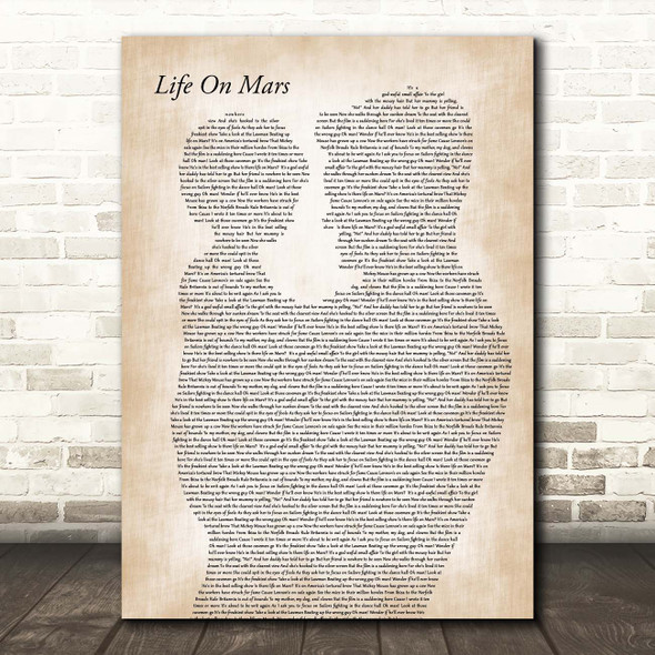 David Bowie Life On Mars Father & Child Song Lyric Print