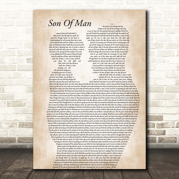 Phil Collins Son Of Man Father & Child Song Lyric Print