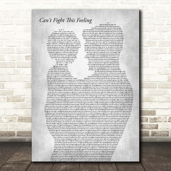 REO Speedwagon Can't Fight This Feeling Father & Child Grey Song Lyric Print