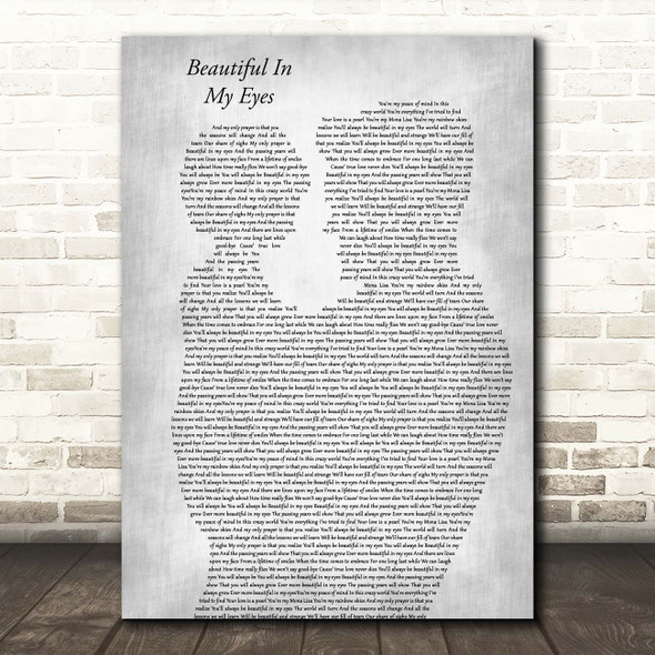 Joshua Kadison Beautiful In My Eyes Father & Child Grey Song Lyric Print
