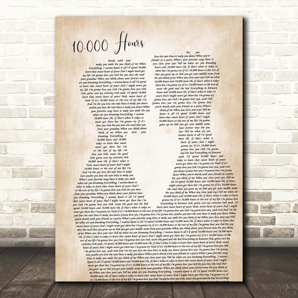Dan + Shay & Justin Bieber 10,000 Hours Two Men Gay Couple Wedding Song Lyric Print
