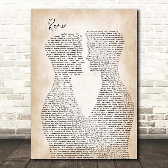 Jonathan Larson Reprise Two Men Gay Couple Wedding Song Lyric Print