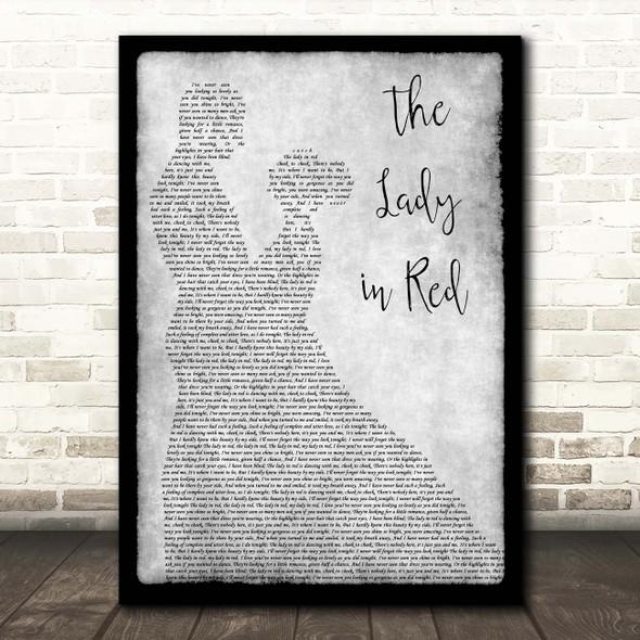 Chris De Burgh The Lady In Red Grey Man Lady Dancing Song Lyric Print