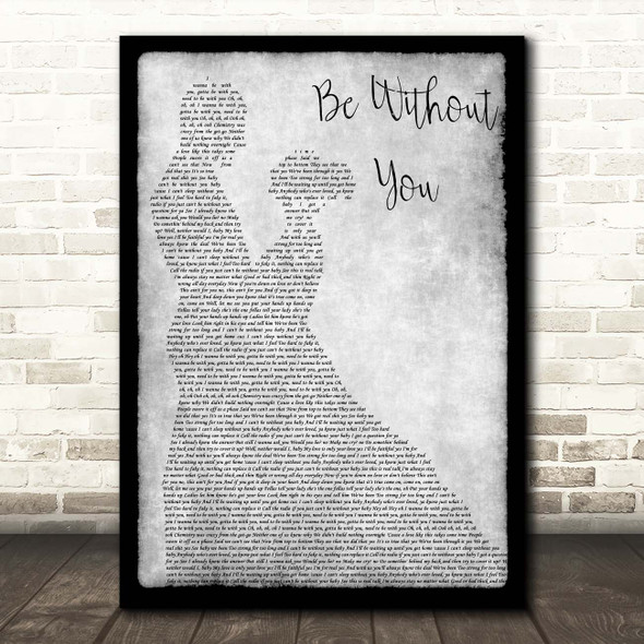 Mary J. Blige Be Without You Grey Man Lady Dancing Song Lyric Print