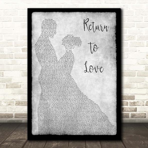 Andrea Bocelli Return To Love Grey Man Lady Dancing Song Lyric Print