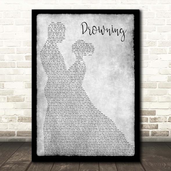 Backstreet Boys Drowning Grey Man Lady Dancing Song Lyric Print