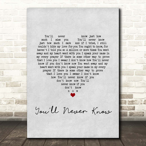Vera Lynn You'll Never Know Grey Heart Song Lyric Print