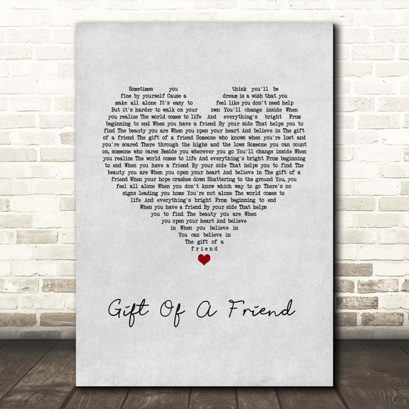 Demi Lovato Gift Of A Friend Grey Heart Song Lyric Print