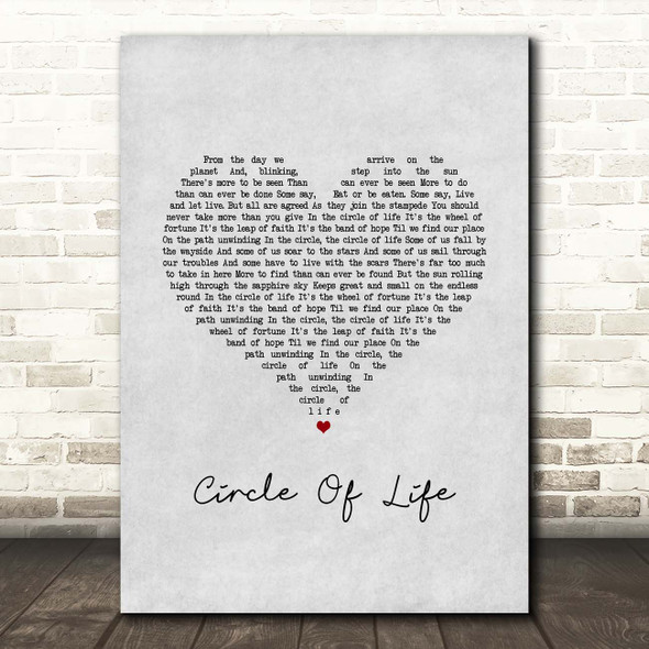 Elton John Circle Of Life Grey Heart Song Lyric Print