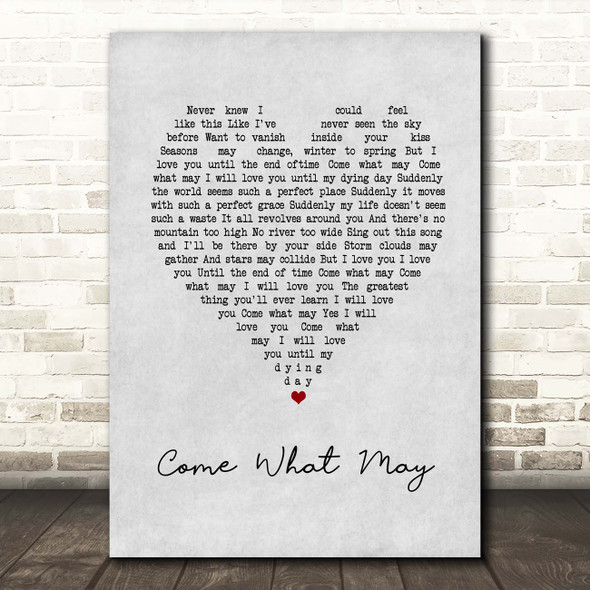 Nicole Kidman, Ewan McGregor Come What May Grey Heart Song Lyric Print
