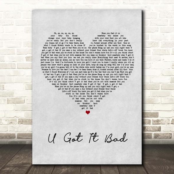 Usher U Got It Bad Grey Heart Song Lyric Print