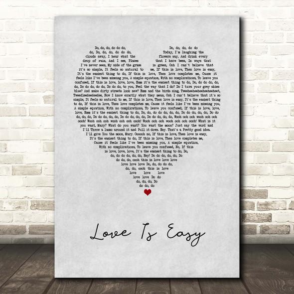 McFly Love Is Easy Grey Heart Song Lyric Print