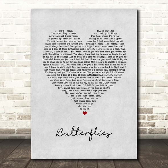 Queen Naija Butterflies Grey Heart Song Lyric Print