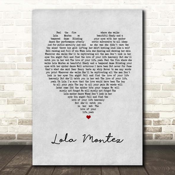 Volbeat Lola Montez Grey Heart Song Lyric Print