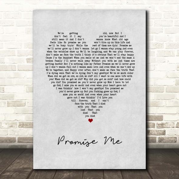 Badflower Promise Me Grey Heart Song Lyric Print