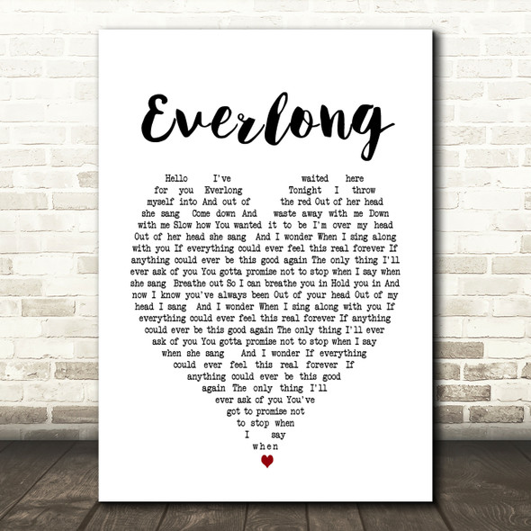 Everlong Foo Fighters Heart Song Lyric Quote Print