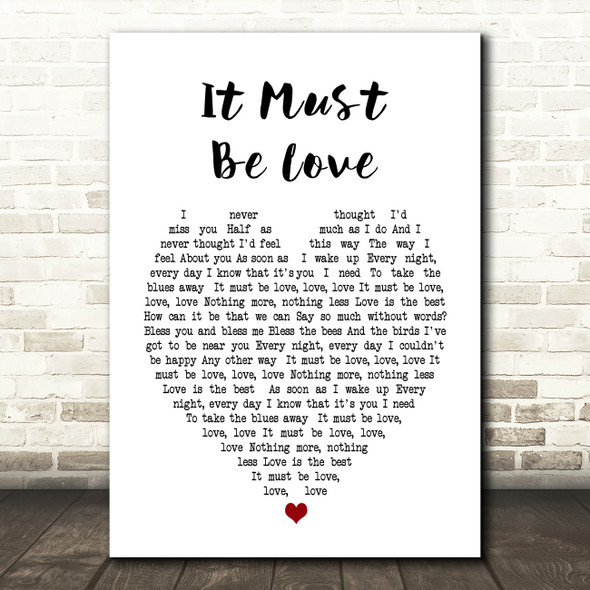 It Must Be Love Madness Heart Song Lyric Quote Print