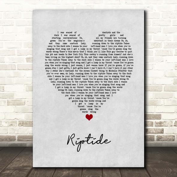 Vance Joy Riptide Grey Heart Song Lyric Print