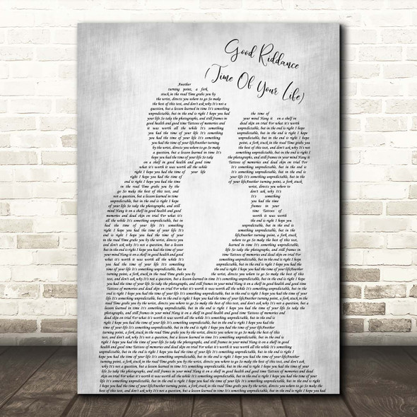 Green Day Good Riddance (Time Of Your Life) Man Lady Bride Groom Wedding Grey Song Lyric Print