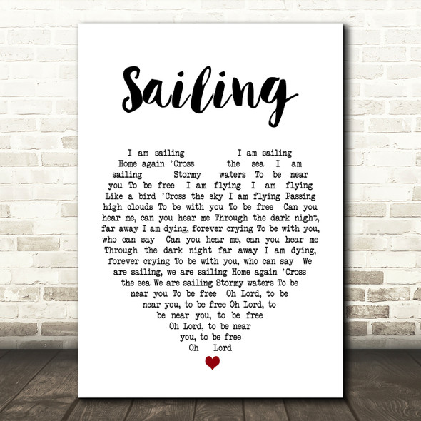Sailing Rod Stewart Heart Song Lyric Quote Print