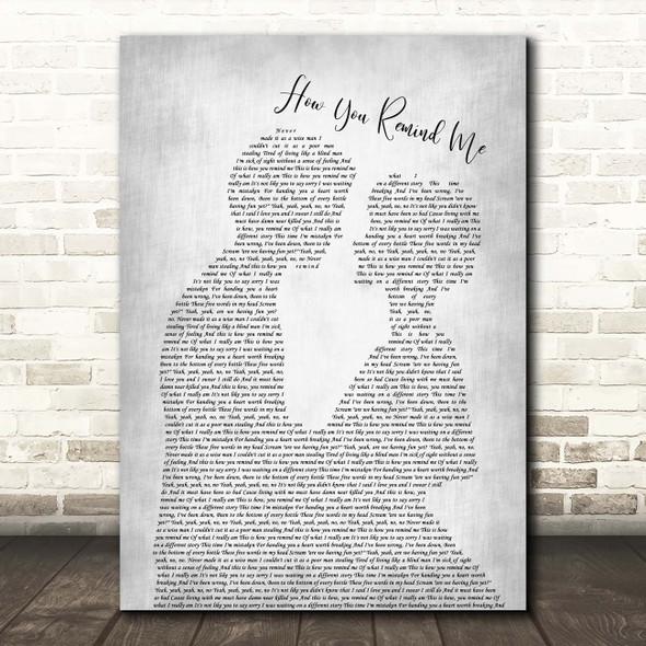 Nickelback How You Remind Me Man Lady Bride Groom Wedding Grey Song Lyric Print