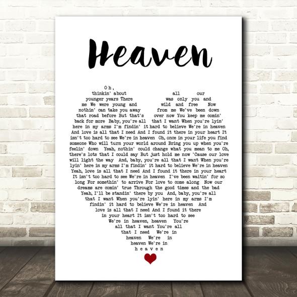 Heaven Bryan Adams Quote Song Lyric Heart Print