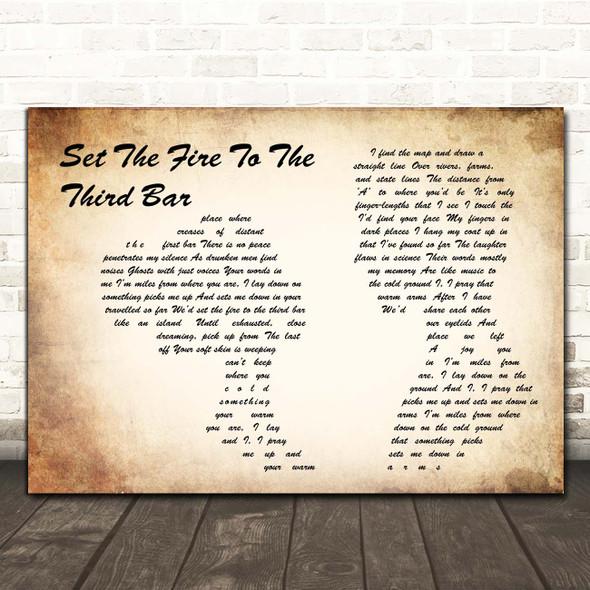 Snow Patrol Set The Fire To The Third Bar Man Lady Couple Song Lyric Print