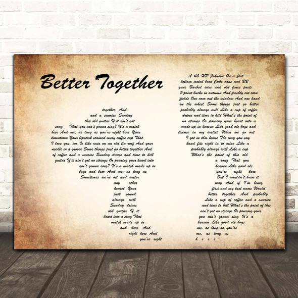 Luke Combs Better Together Man Lady Couple Song Lyric Print