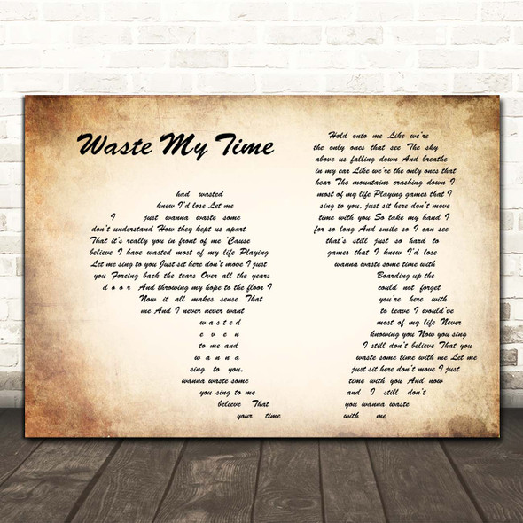 Saint Asonia Waste My Time Man Lady Couple Song Lyric Print