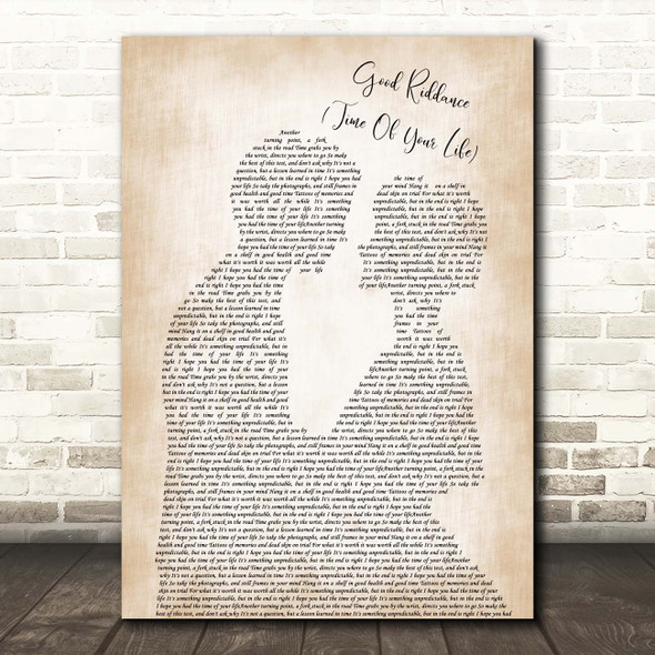 Green Day Good Riddance (Time Of Your Life) Man Lady Bride Groom Wedding Song Lyric Print