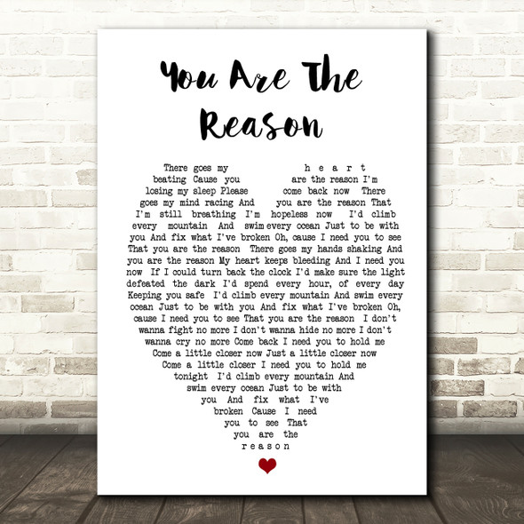 Calum Scott You Are The Reason Heart Song Lyric Quote Print
