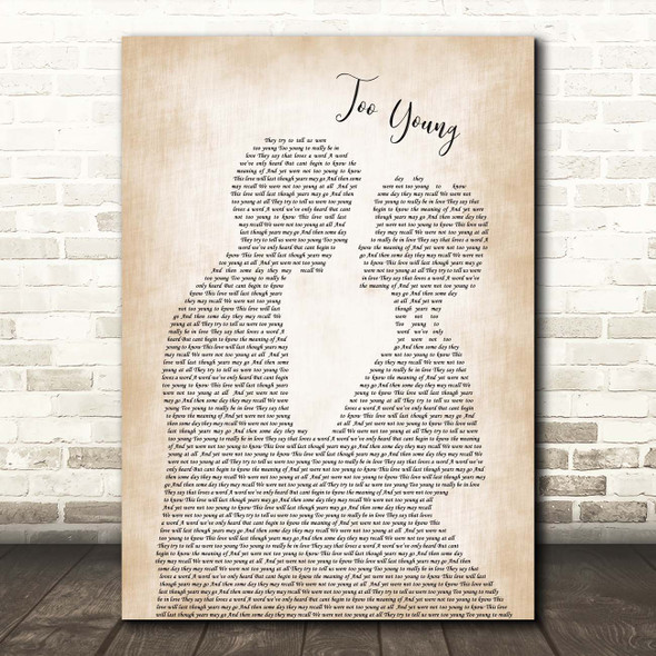 Jimmy Young Too Young Man Lady Bride Groom Wedding Song Lyric Print