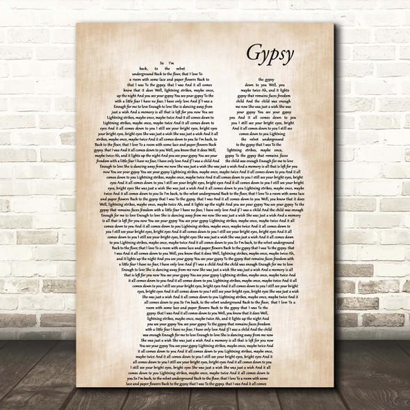 Fleetwood Mac Gypsy Mother & Baby Song Lyric Print