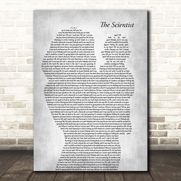 Coldplay The Scientist Mother & Baby Grey Song Lyric Print