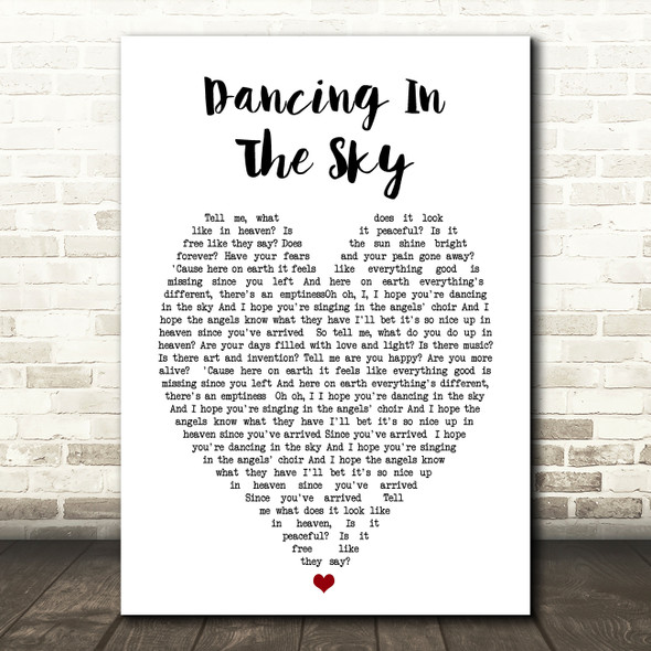Dani And Lizzy Dancing In The Sky Heart Song Lyric Quote Print