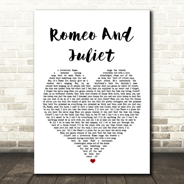Dire Straits Romeo And Juliet Heart Song Lyric Quote Print