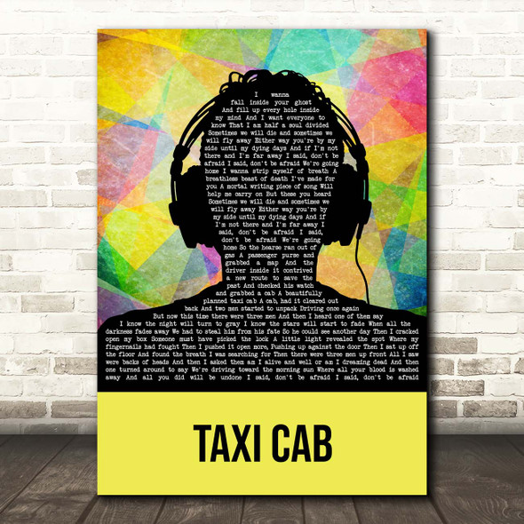 Twenty One Pilots Taxi Cab Multicolour Man Headphones Song Lyric Print