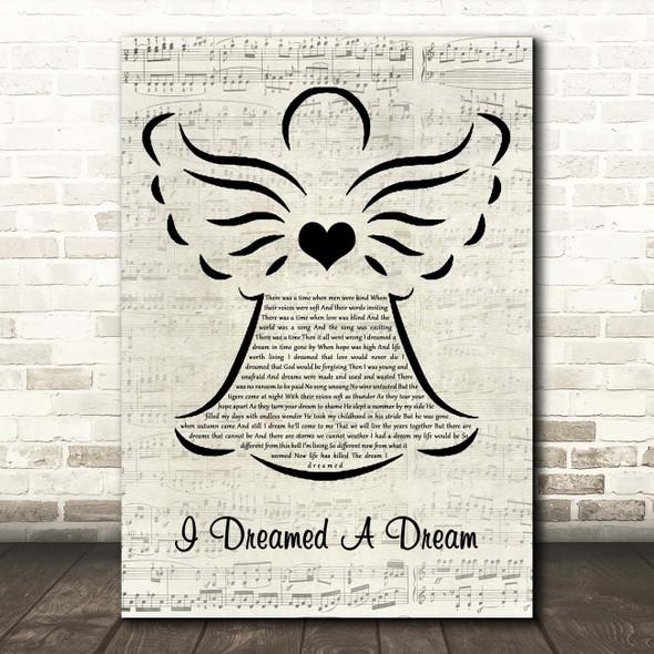 Les Misérables I Dreamed A Dream Music Script Angel Song Lyric Print