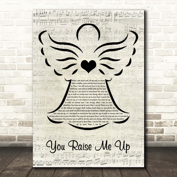 Josh Groban You Raise Me Up Music Script Angel Song Lyric Print