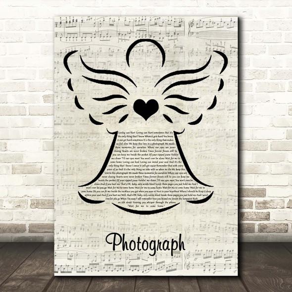 Ed Sheeran Photograph Music Script Angel Song Lyric Print