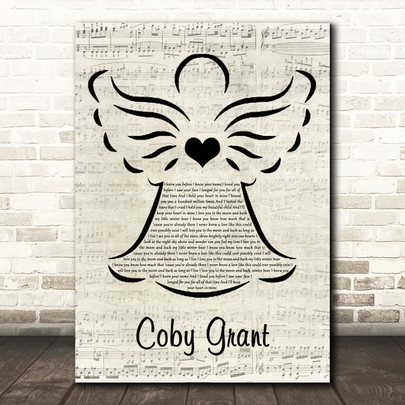 Winter Bear Coby Grant Music Script Angel Song Lyric Print