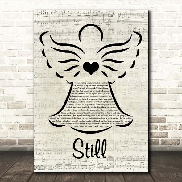 Gerrit Hofsink Still Music Script Angel Song Lyric Print