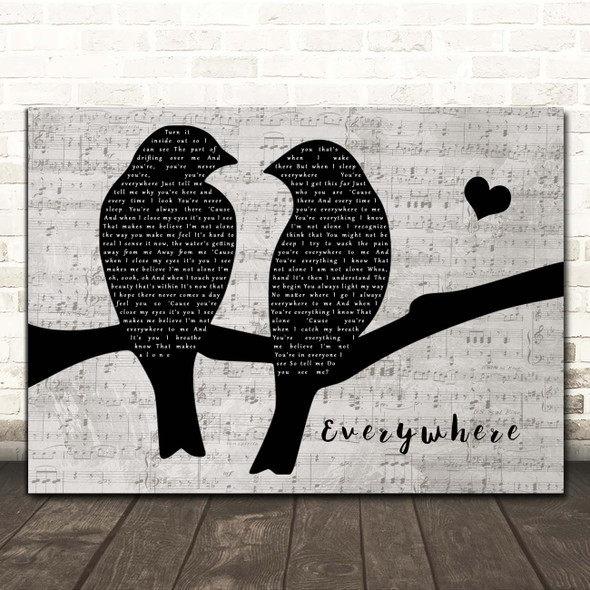 Michelle Branch Everywhere Lovebirds Music Script Song Lyric Print