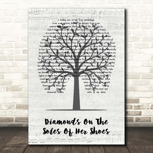 Paul Simon Diamonds On The Soles Of Her Shoes Music Script Tree Song Lyric Print